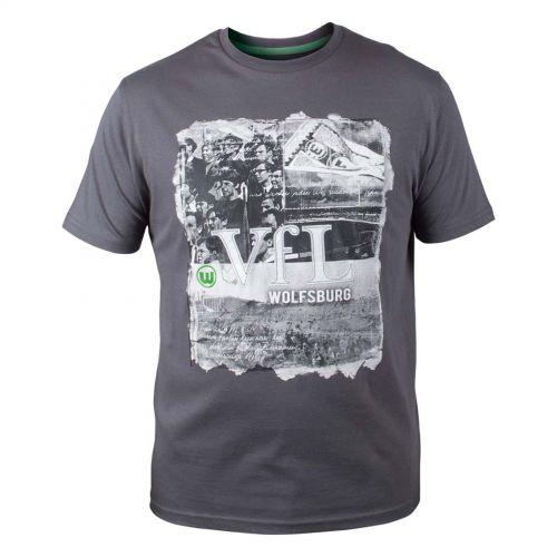 VfL Wolfsburg Cross T-Shirt - Grey - Mens