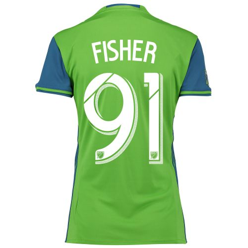 Seattle Sounders Home Shirt 2016 - Womens with Fisher 91 printing