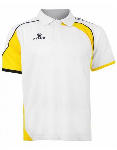 Kelme Блуза с къс ръкав Cartago S/S Polo 78413-143 White Yellow - Бяло/Жълто