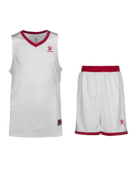 Kelme Баскетболен екип Over Set Basketball 80702-140 White Red - Бяло