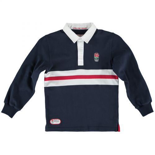 England Classics Stripe Rugby Shirt - Navy - Junior