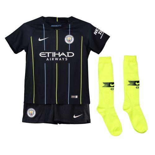 Manchester City Away Stadium Kit 2018-19 - Little Kids with Kompany 4 printing