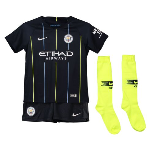 Manchester City Away Stadium Kit 2018-19 - Little Kids with Sterling 7 printing