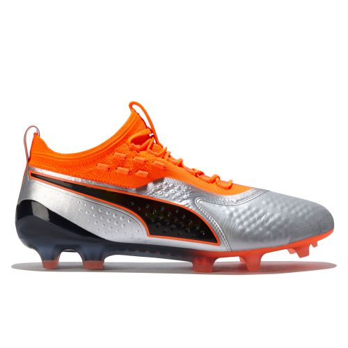 Puma One 1 Leather Firm Ground Football Boots - Silver