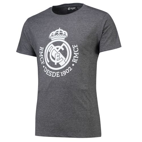 Real Madrid Large Printed Crest T-Shirt - Grey - Mens
