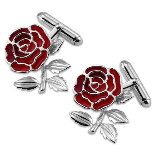 England Red Rose T Bar Cufflinks Sterling Silver