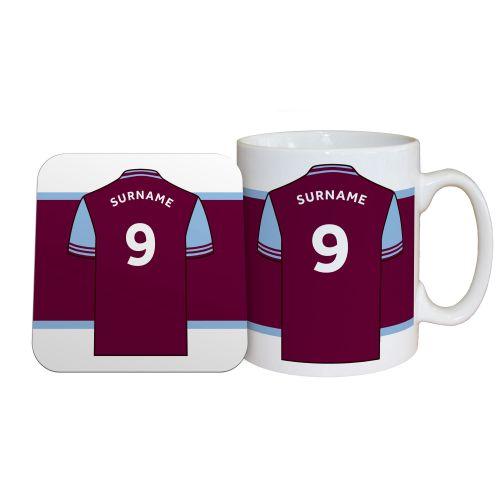 Aston Villa Personalised Shirt Mug and Coaster Set