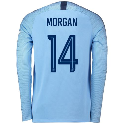 Manchester City Home Cup Stadium Shirt 2018-19 - Long Sleeve with Morgan 14 printing