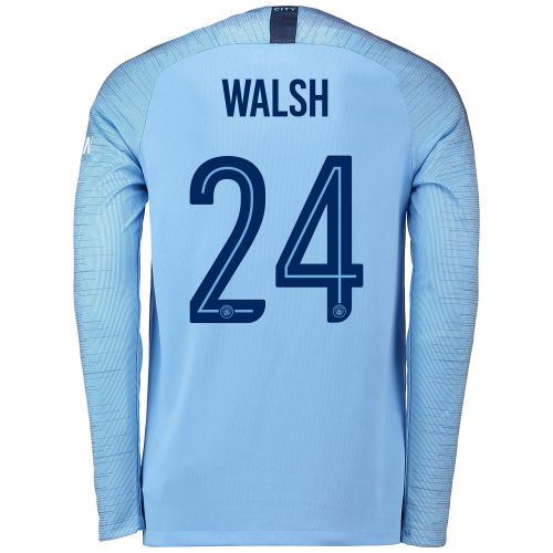 Manchester City Home Cup Stadium Shirt 2018-19 - Long Sleeve with Walsh 24 printing