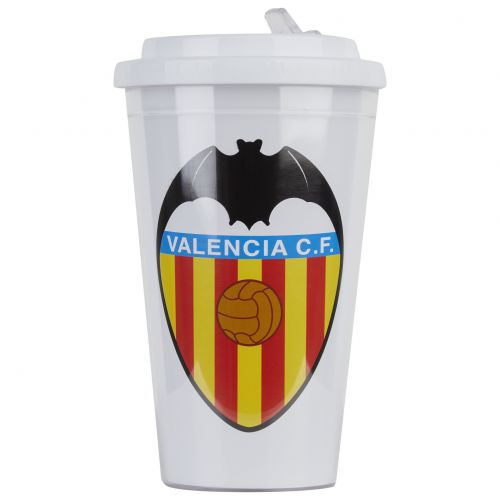 Valencia CF Plastic Thermos with Straw - White