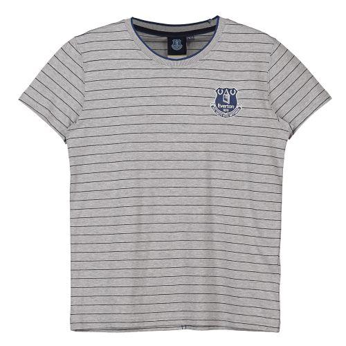 Everton Core Fine Stripe With Tipped Collar T-Shirt- Grey-Junior Boys