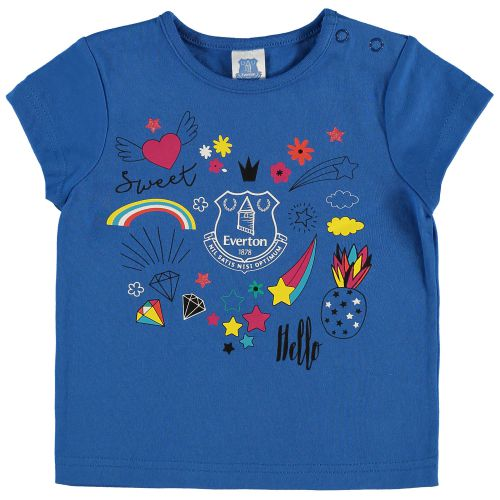 Everton Infant Random Print T Shirt - Royal - Girls