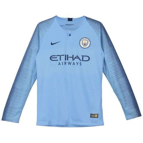 Manchester City Home Stadium Shirt 2018-19 - Long Sleeve - Kids with Delph 18 printing