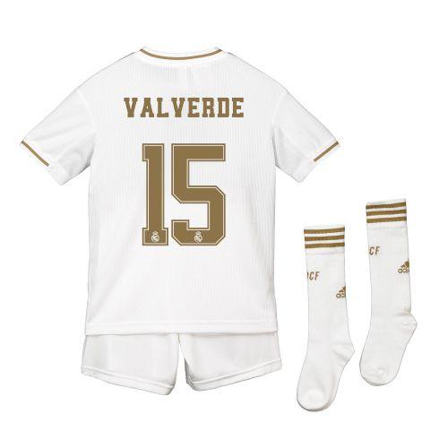Real Madrid Real Madrid Home Kit 2019 - 20 - Kids with Valverde 15 printing