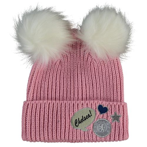 Chelsea Double Pom Badge Knit - Pink - Junior