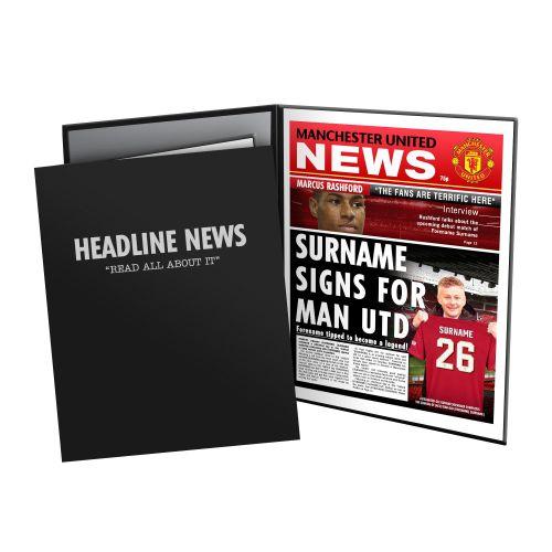 Manchester United Personalised Newspaper in Presentation Folder