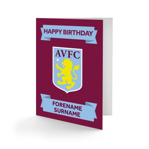 Aston Villa Personalised Crest Birthday Card