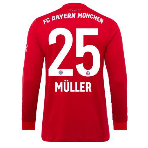 FC Bayern Home Long Sleeve Shirt 2019-19 - Kids with Müller 25 printing