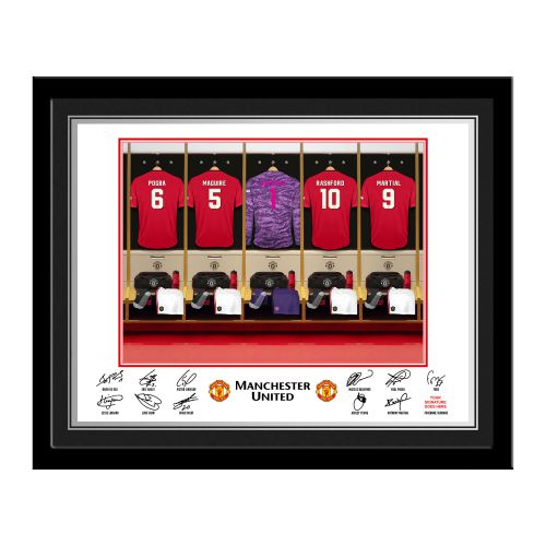 Manchester United Personalised Goalkeeper Dressing Room Photo Framed