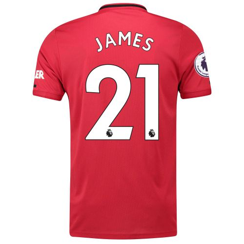 Manchester United Pre-Printed Home Shirt 2019 - 20 with James 21 & Premier League Player Badge