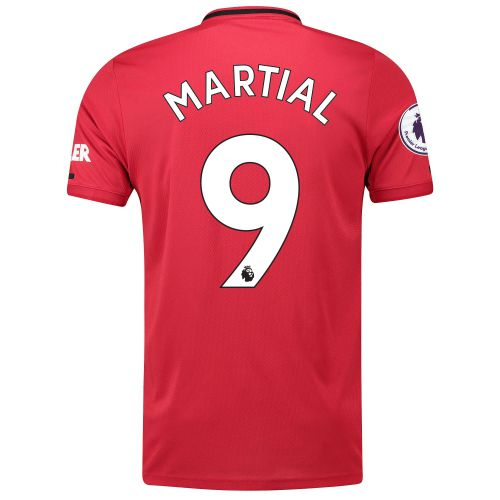 Manchester United Pre-Printed Home Shirt 2019 - 20 with Martial 9 & Premier League Player Badge