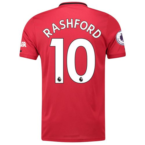 Manchester United Pre-Printed Home Shirt 2019 - 20 with Rashford 10 & Premier League Player Badge