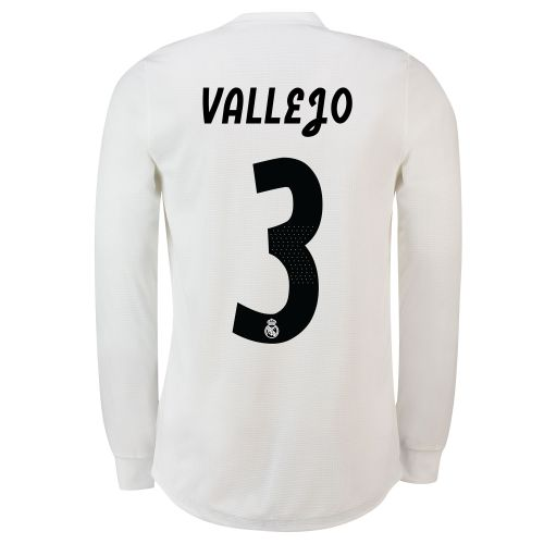Real Madrid Home Adi Zero Shirt 2018-19 - Long Sleeve with Vallejo 3 printing
