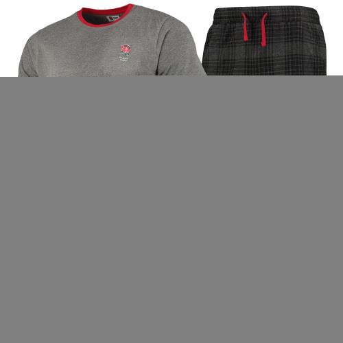 England Long Pyjamas - Grey Marl/Charcoal - Mens