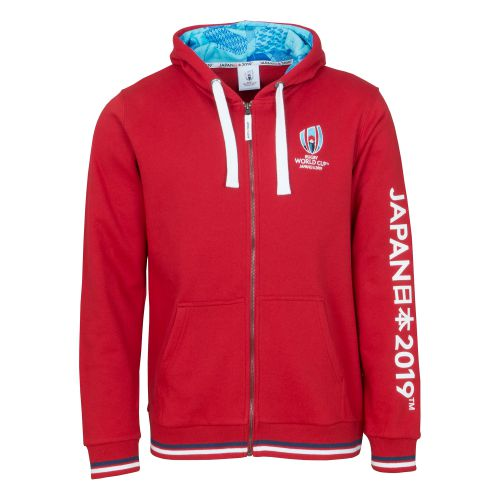 Rugby World Cup Zip Through Hoodie - Red - Mens