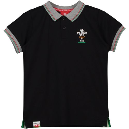 Welsh Rugby Classic Jersey Polo - Black - Boys