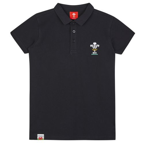 Welsh Rugby Core Pique Polo - Black - Boys