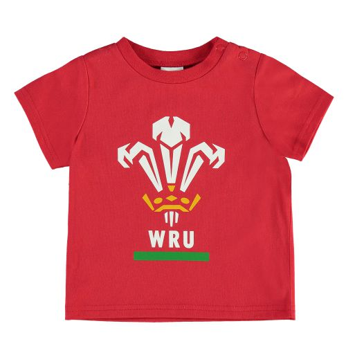 Welsh Rugby Large Print Crest T-Shirt - White/Red - Baby