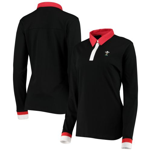 Welsh Rugby Iconic Tip Long Sleeve Rugby Polo Shirt - Black - Womens