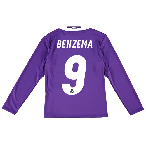 Real Madrid Away Jersey 2016/17 - Kids - Long sleeve - with Benzema 9 printing
