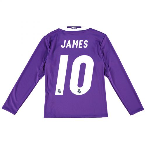Real Madrid Away Jersey 2016/17 - Kids - Long sleeve - with James 10 printing