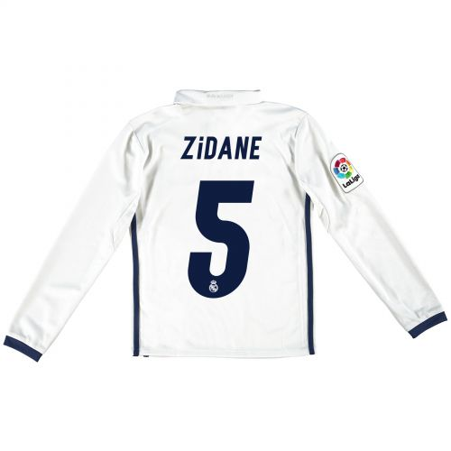Real Madrid Home Jersey 2016/17 - Kids - Long sleeve - with Zidane 5 printing
