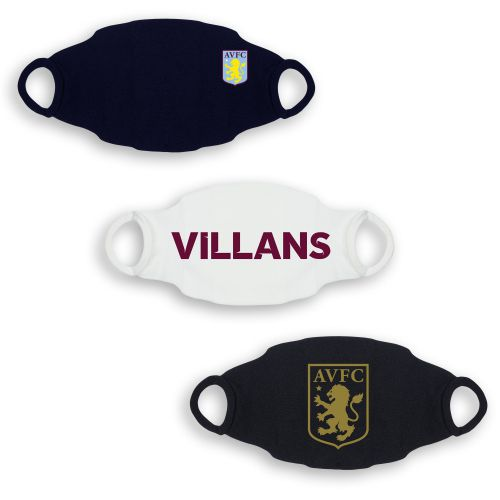 Aston Villa 3 Pack Face Coverings - Black/White/Navy - Adult