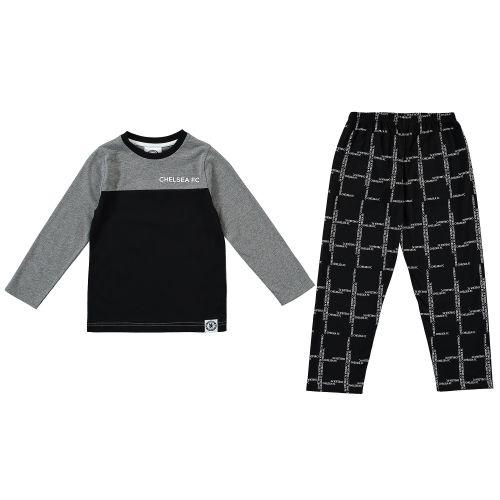 Chelsea Wordmark Check Lounge Set - Black / Grey - Boys