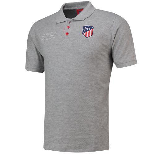 Atlético de Madrid Crest Polo Shirt - Grey - Mens