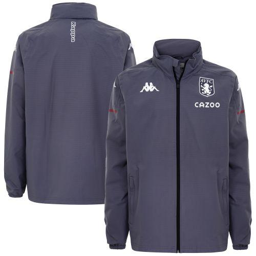 Aston Villa Player Training Hooded Rain Jacket - Grey - Kids