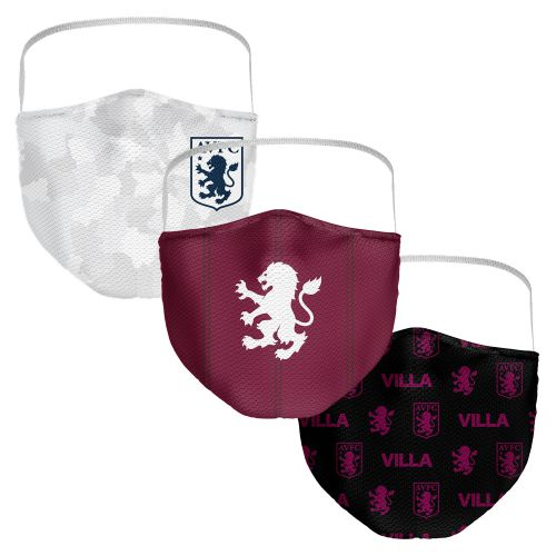 Aston Villa 3 Pack Face Coverings - Claret/Black/White - Adults