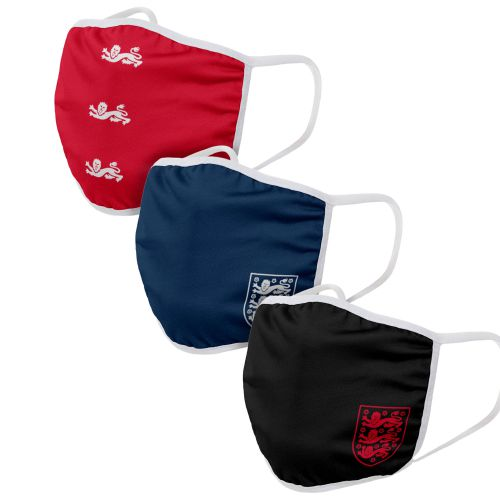England 3 Pack Face Coverings - Blue/Black/Red - Adults