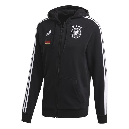 Germany 3 Stripe Full Zip Hoodie - Black