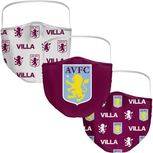 Aston Villa 3 Pack Face Coverings - Claret - Adults