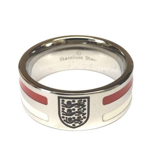 England Colour Stripe Crest Band Ring - Stainless Steel