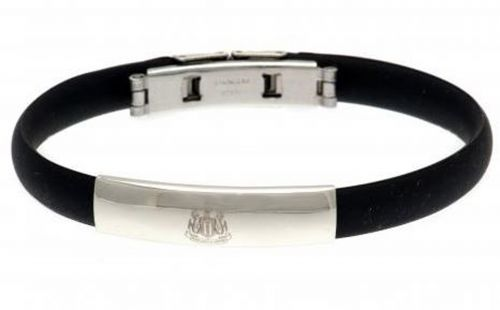 Newcastle United Crest Rubber Band Bracelet - Stainless Steel