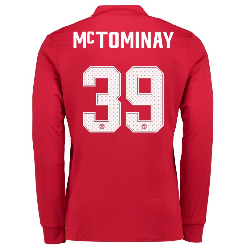 Manchester United Home Cup Shirt 2017-18 - Kids - Long Sleeve with  McTominay 39 printing