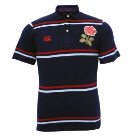 England Rugby 1871 Short Sleeve Stripe Pique Polo Navy