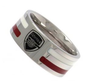 Arsenal Colour Stripe Crest Band Ring - Stainless Steel