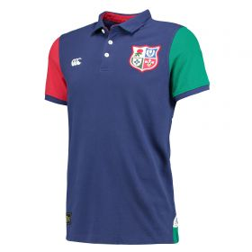British & Irish Lions Blocked Pique Polo - Faded Navy